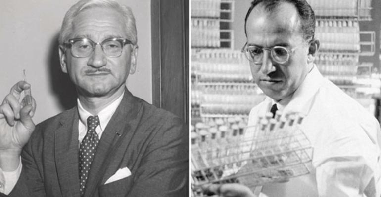 Le Dr Jonas Salk et le Dr Albert Sabin les inventeurs des vaccins contre la poliomyélite